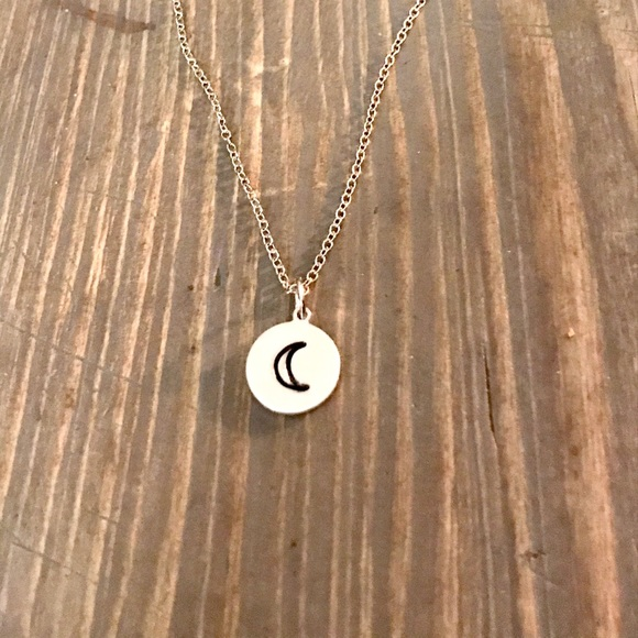 handmade Jewelry - Hand stamped moon pendant necklace